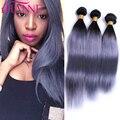Peruvian Straight Hair 3Pcs/Lot 7A Silver Grey Ombre Virgin Hair 100% Natural Virgin Peruvian Hair Bundles Dark Gray Human Hair