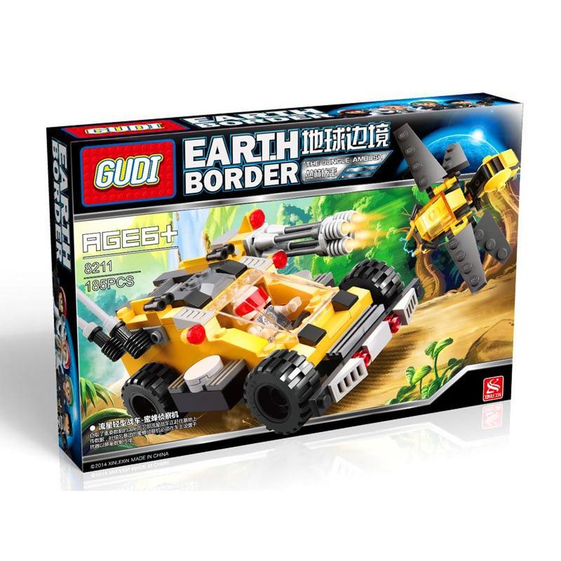 GUDI Jungle Chariot Assembled Plastic Building Blocks Toy