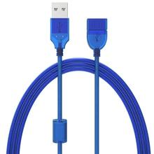 0,3 м, 0,5 м, 1,5 м, 3 м, 5 м, новинка, USB 2,0 кабель-удлинитель «Папа-мама», USB адаптер, прозрачный синий, анти-помехи, двойное экранирование