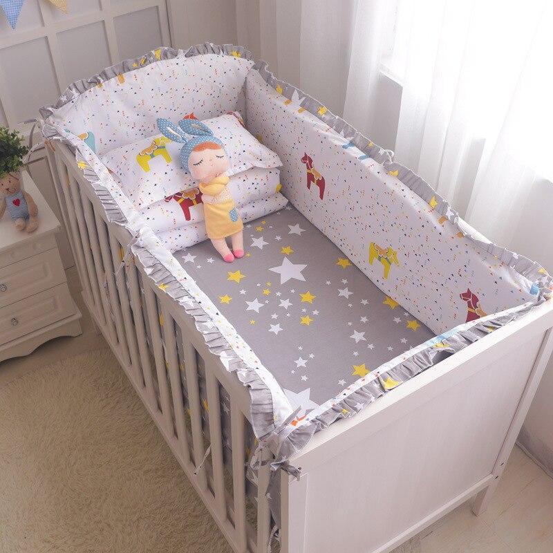 Enfants lits bébé Gril lit de berceau pare-chocs mode bébé literie ensemble filles coton pépinière literie 120*60cm 5 pièces/ensemble pare-chocs pour bébé - 3