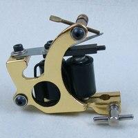Cast Iron 8 Wrap Coil Dual Coiled Tattoo Machine Gun Shader High Performance Gold Tattoo Set
