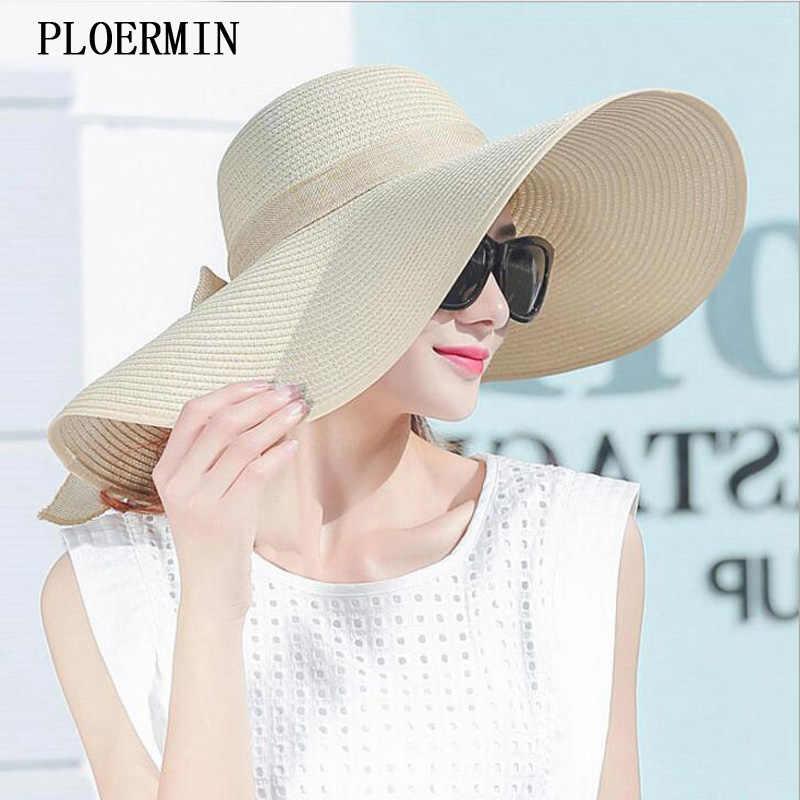 ba500e0d359 Elegant Style Summer Large Brim Straw Hat Adult Women Girls Fashion Sun Hat  uv Protect Big