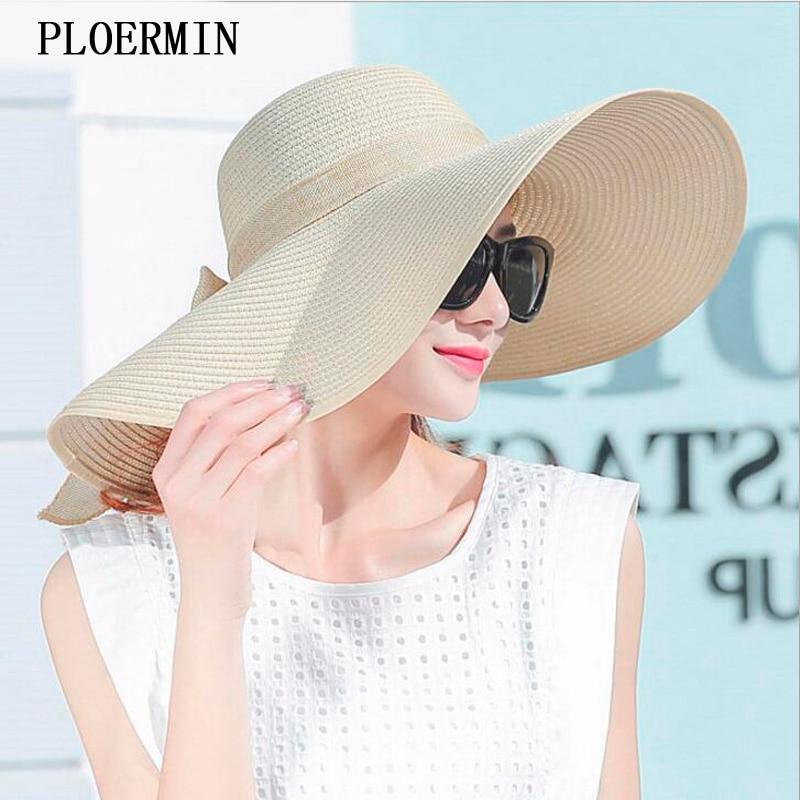 Elegant Style Summer Large Brim Straw Hat Adult Women Girls Fashion Sun Hat Uv Protect Big Bow Summer Beach Hat