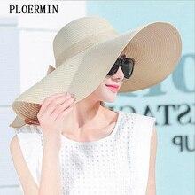 Elegante estilo verano ala grande sombrero de paja para las mujeres de moda sombrero  de sol uv proteger arco grande de verano pl. 2d5ea27fd74
