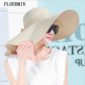 Elegante Stil Sommer Große Krempe Stroh Hut Erwachsene Frauen Mädchen Mode Sonnenhut uv Schützen Großen Bogen Sommer Strand Hut