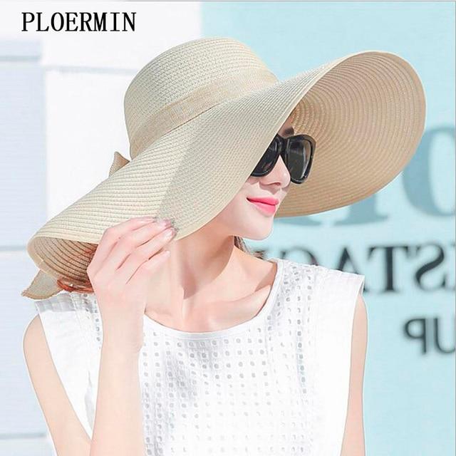 Estilo elegante Verão Grande Aba do Chapéu de Palha Adulto Mulheres Meninas Moda  Chapéu de Sol 3a87bb0a536