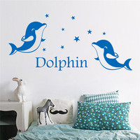 PVC Wall Stickers Dolphin Marine Wall Art Decals DIY Vinyl Removable Kindergarten Nursery Kitchen Bathroom Decoration
