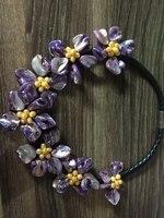 Handmade Purple MOP Shell Yellow Cultured Pearl Flowers Statement Bib Necklace Women