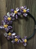 Handmade Purple MOP Shell Yellow Cultured Pearl Flowers Statement Bib Necklace Women