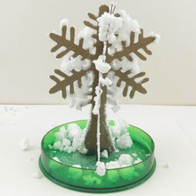 2019 120mm H White Magic Growing Paper Snowflake Tree Magical Grow Snowflakes Flutter Christmas Trees Crystals Flakes Kids Toys