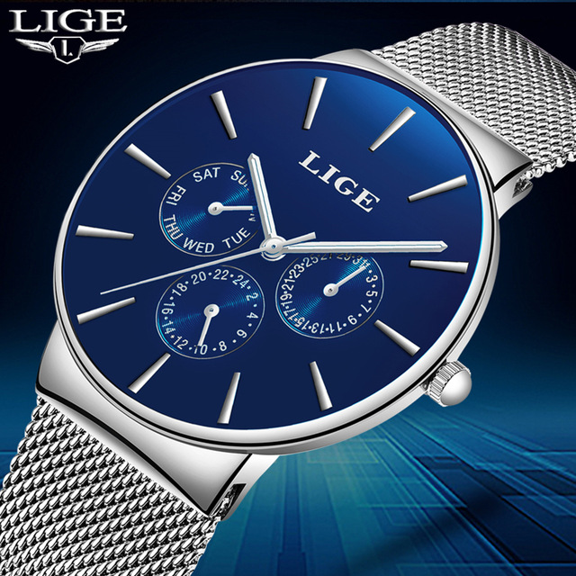 LIGE Men's Watches New Luxury Brand Blue Watch Men Fashion Sports Quartz-Watch Stainless Steel Mesh Strap Ultra Thin Dial Clock rosefieltop luxury brand womens watches men stainless ultra thin watch steel mesh strap band quartz watch thin dial clock 2017
