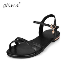 Gtime Genuine Leather Women Flats Sandals Plus Size 34-43 New Fashion Casual Solid Buckle Strap Woman Shoes Beige ZWB50