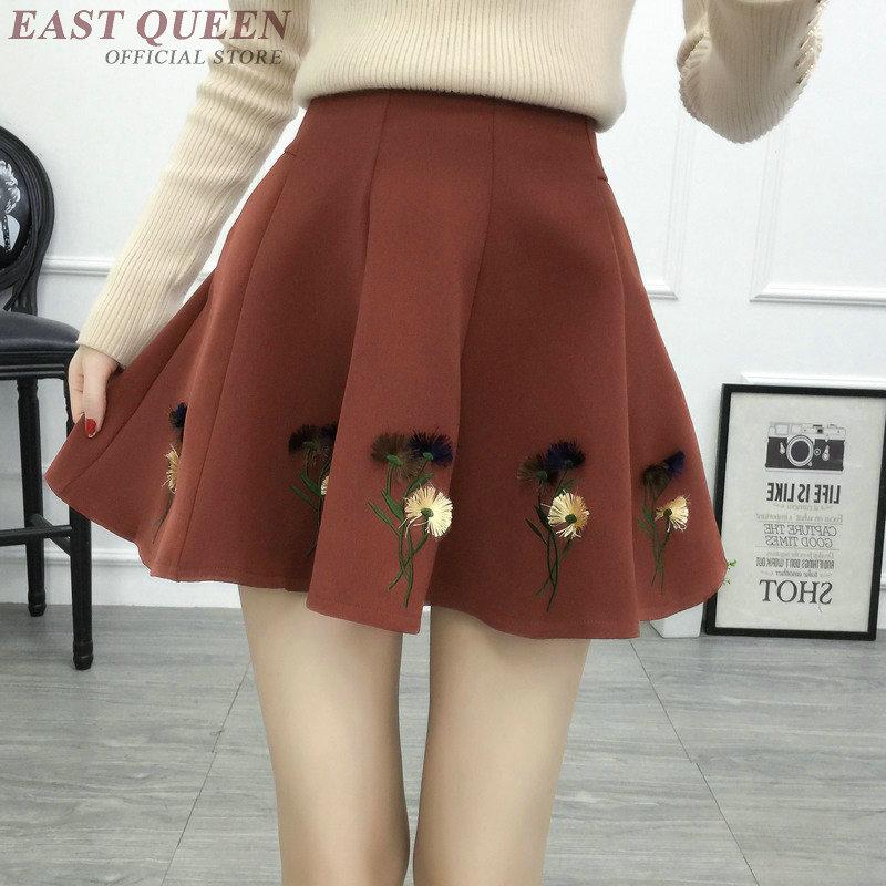 Dames de femmes élégant jupe au printemps tunique taille haute floral brodé jupes doux grâce mini micro jupe vêtements AA3271 F
