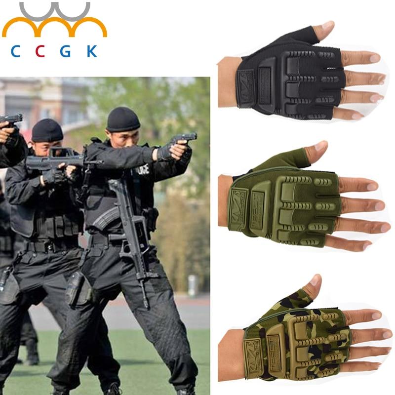 bilder für Armee Militärische Taktische Kampf Handschuhe Outdoor Spezialeinheiten Halb Navy SEALs Handschuhe Finger Anti Skid Fingerlose Schießhandschuhe