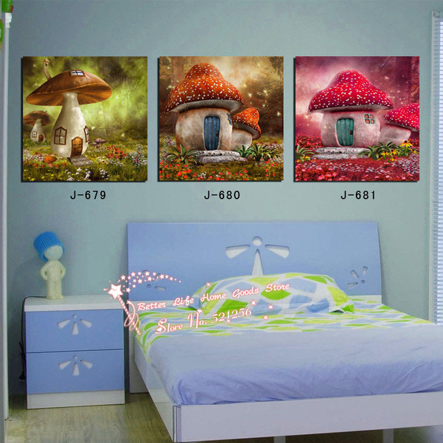 Modern Wall Art Home Decoration Printed Oil Painting Pictures No Frame 3  Panel Cute Mushroom House