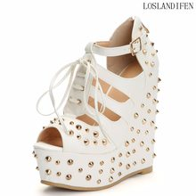 4b411c7e0dda 2018 Womens Ladies Handcrafted High Heel Sandals Rivets Spikes Crosscriss  Lace-up Party Wedding Prom Shoes Fashion Sandals N012
