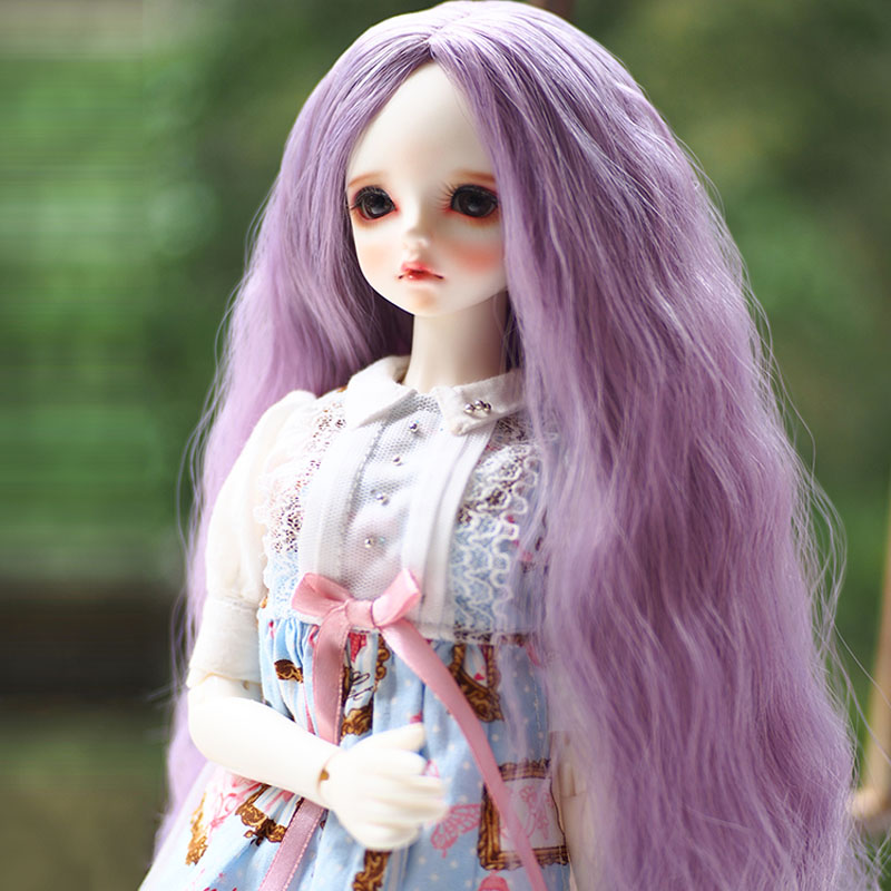 Bjd SD Doll Wig High Temperature For 1/3 1/4 BJD Doll Purple Colors Wavy Wig new 1 3 bjd wig purple short shtaight hair doll diy for1 3 1 4 1 6 1 8 1 12 bjd sd dollfie