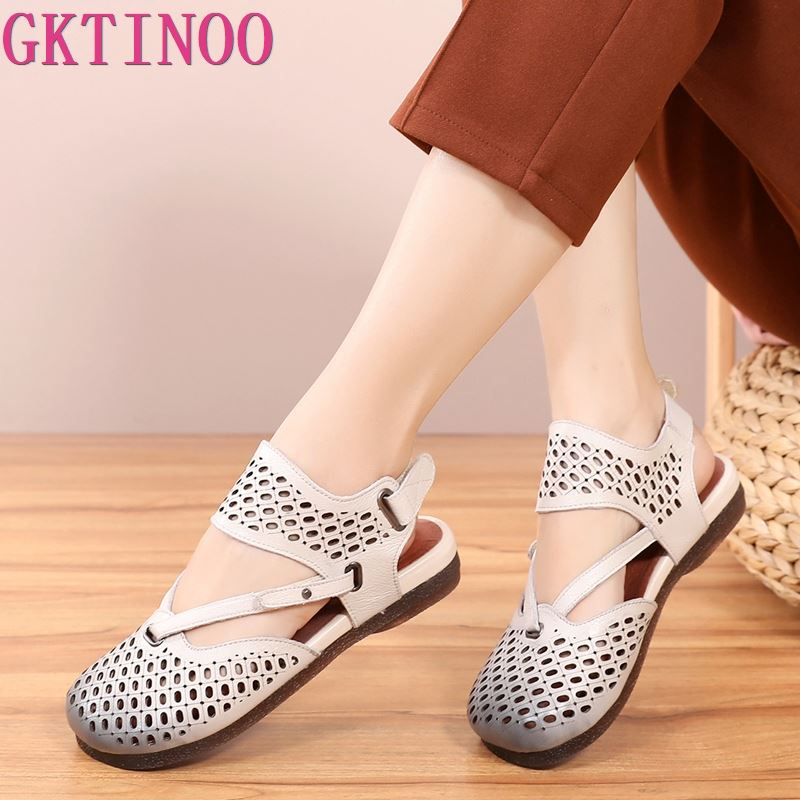 Women Gladiator Sandals Shoes Genuine Leather Hollow out Flat Sandals Ladies Casual Soft bottom Summer Shoes
