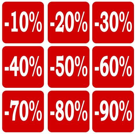 200pcs 51x51mm 10 To 90 OFF DISCOUNT Paper Label Sticker For Shop Sales, Item No. PD09