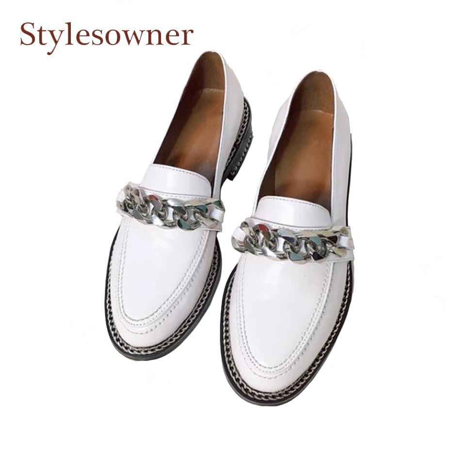 Printemps Rond Date Pour Noir Cuir Chaîne Véritable Bout Confort Talon blanc Chaussures En Métal Stylewowner Loisirs Femmes Faible Simples Style dSwqd75