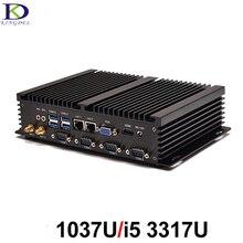 Новый безвентиляторный Промышленные ПК мини-компьютер INTL Celeron 1037U i5 3317U Dual Core 4 * RS232 com Поддержка Linux Окна XP, Окна 7,8, 10