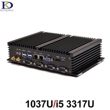 New Fanless Industrial PC Mini Computer Intl Celeron 1037U i5 3317U Dual Core 4*RS232 COM Support Linux Windows xp,Windows7,8,10