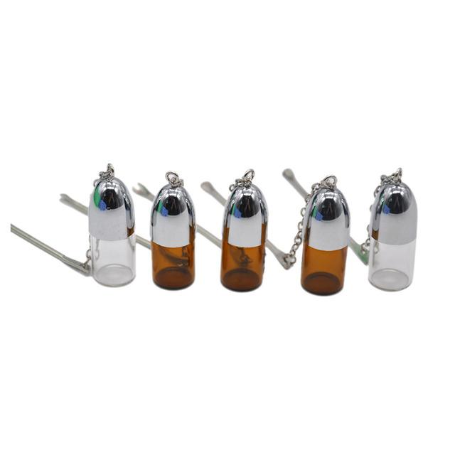 2 pcs/Lot 36mm/57mm/72mm Glass Snuff Dispenser Bullet  Rocket Snorter Snuff Snorter Sniff With Metal Scrapper Brown Clear Color