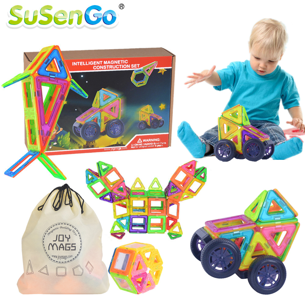 SuSenGo Big Magnetic Designer Kits 34/41pcs Building Models Toy with Wheel Car Baby Kids Toddlers Educational Gift magnetic 77 82 89pcs magnetic kits building models toy with windmill car enlighten plastic educational for toddlers yoyo diy