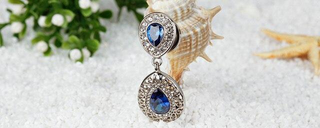 Серьги подвески kubooz из нержавеющей стали с синими кристаллами