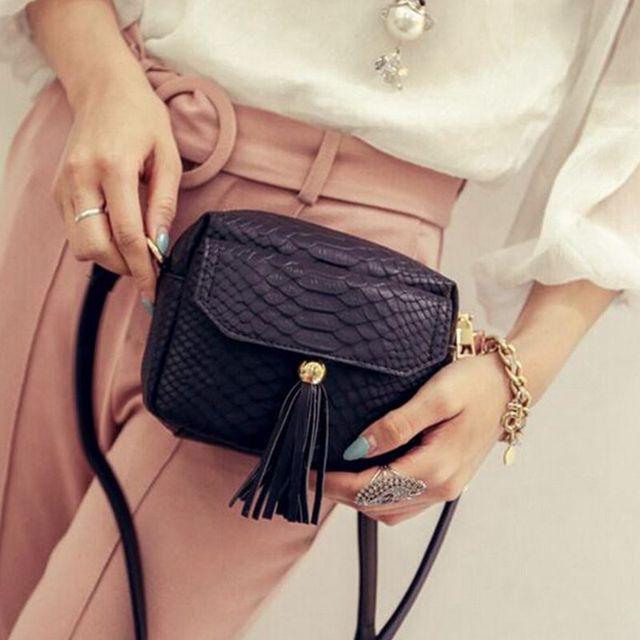 Simple Alligator Crocodile Leather Mini Small Women Crossbody bag Tassel Fringed Messenger Shoulder Bag Purse Handbag  F40-848