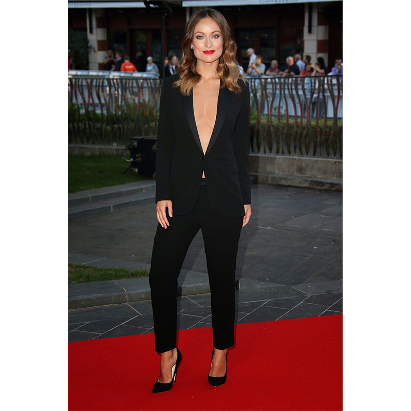 Black Elegant Formal Work Wear Slim Fit 2 Piece Womens Business Suits One Button Blazer Female Trousers Suit Office Uniform
