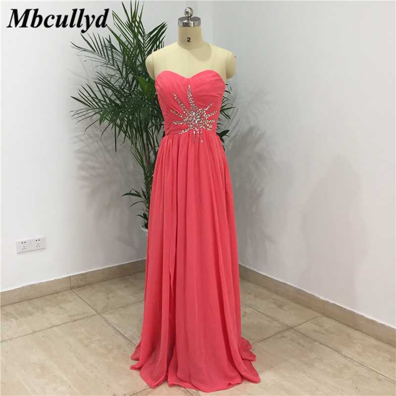 Mbcullyd   Bridesmaid     Dresses   For Women 2019 New Shining Beaded Crystal A Line Chiffon Maid Of Honor   Dress   Watermelon Party Gowns