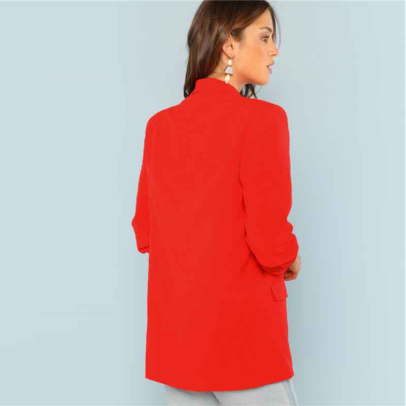 COLROVIE Red Solid Workwear Shawl Collar Women Blazer Feminino 2018 New Ladies Blazer Office Suit Elegant Women Outwear Coat 7
