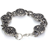 Wholesale Punk Skull Stainless Steel Charm bracelet for Women DIY Bracelets & Bangles Charms Bracelets Men Pulseira Jewelry Gift