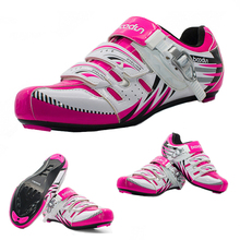 New Woman Pink Road Bicycle Shoes MTB Riding Cycling Mountain Bike Shoes EUR36-39 Non-slip Auto Self-Lock Shoes Autumn Winter