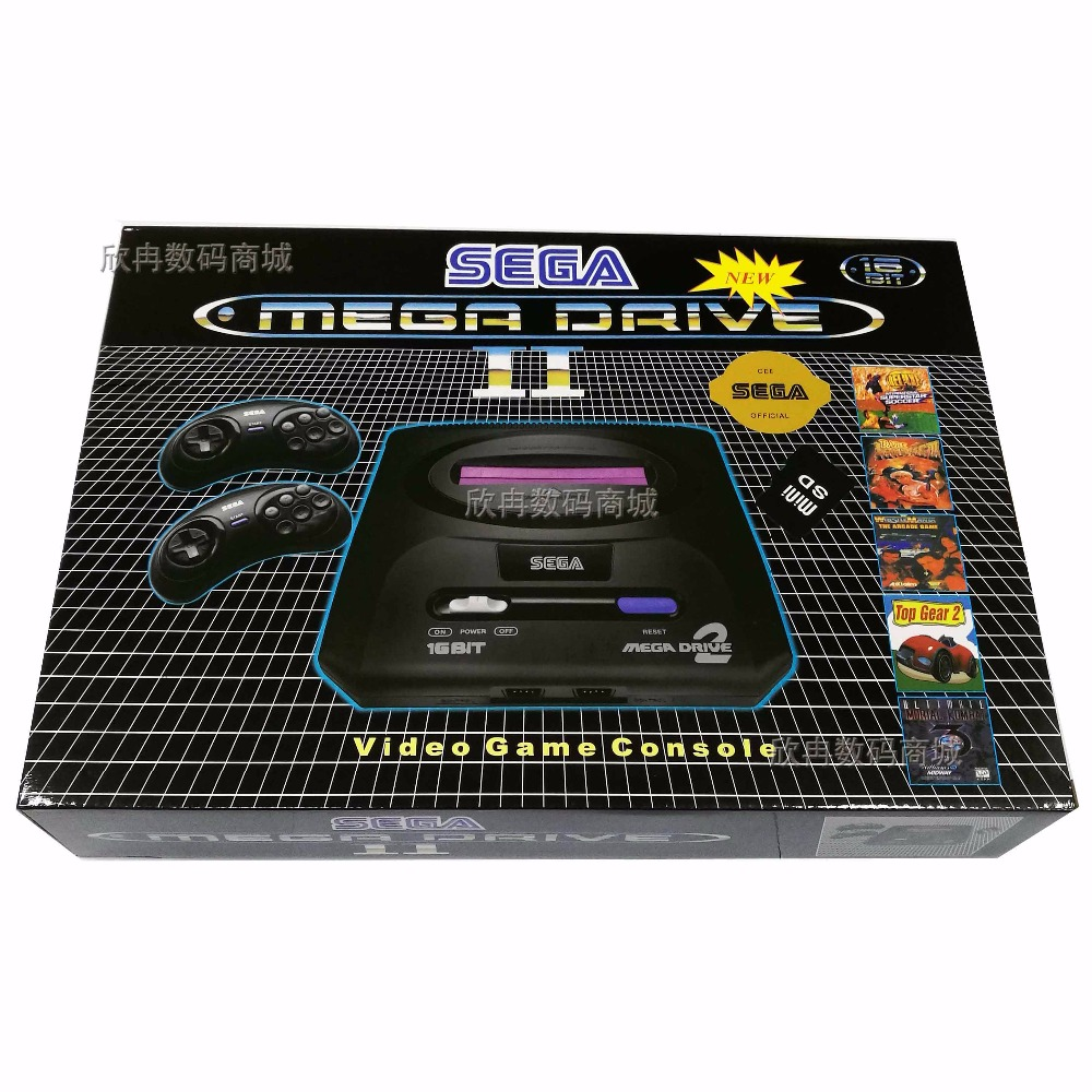 New Customize 16bit Sega Mega Drive MD2 Support SD Card 8GB Video Game Console Player Retro Video Game Console With 2 Controller