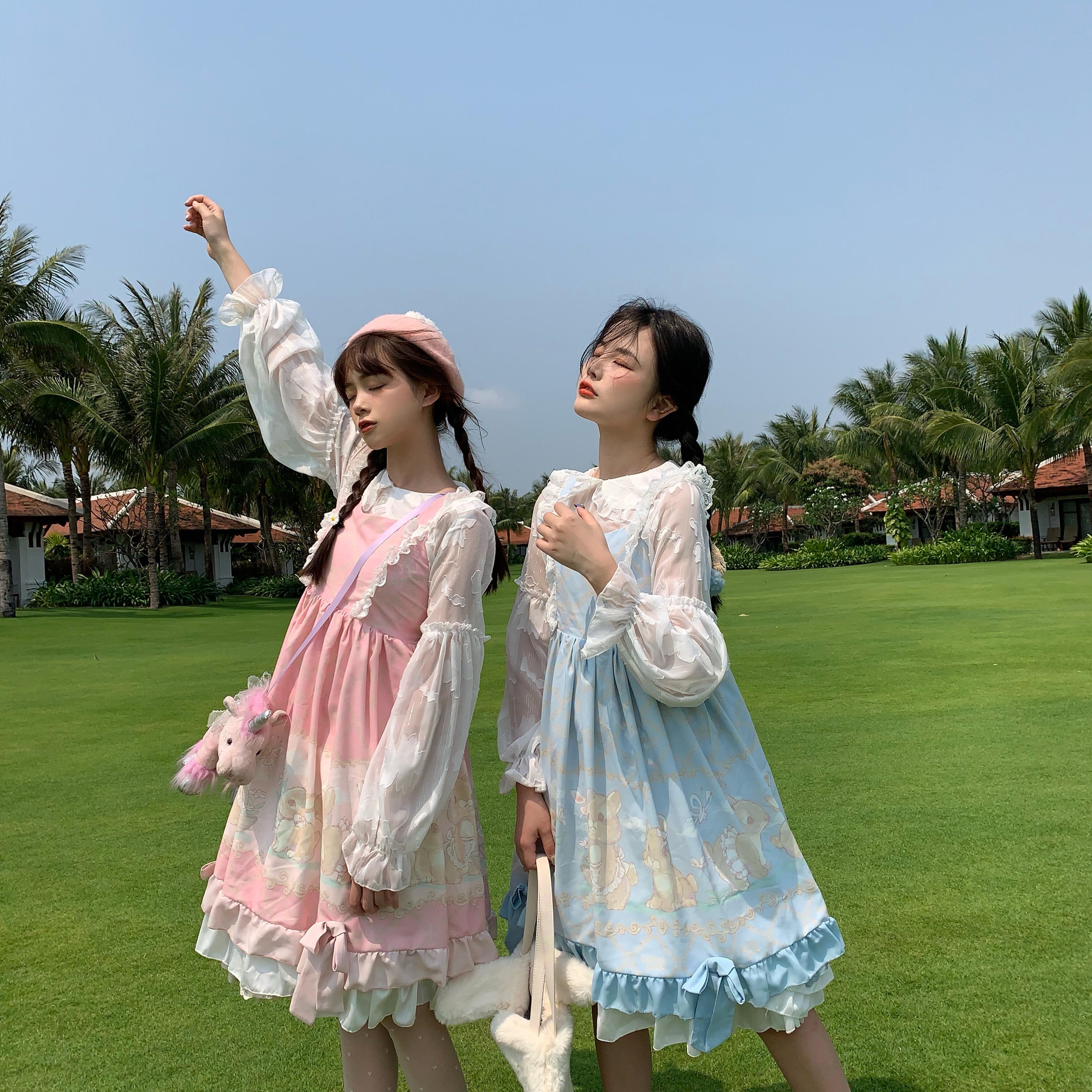 Vadim nouveau réel 2019 Sennu veut aller à la plage.) Écureuil lapin doux fille imprimé Lolita robe japonaise originale Style printemps