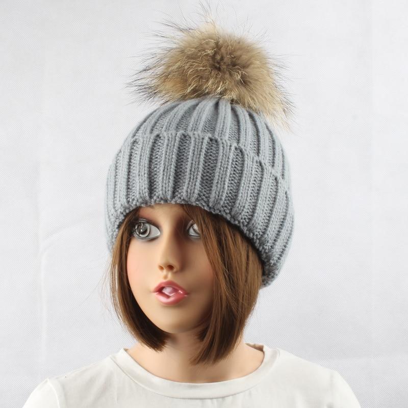 FURANDOWN Musim Dingin Tebal Hangat Wol Knitting Beanie Topi Untuk - Aksesori pakaian - Foto 3