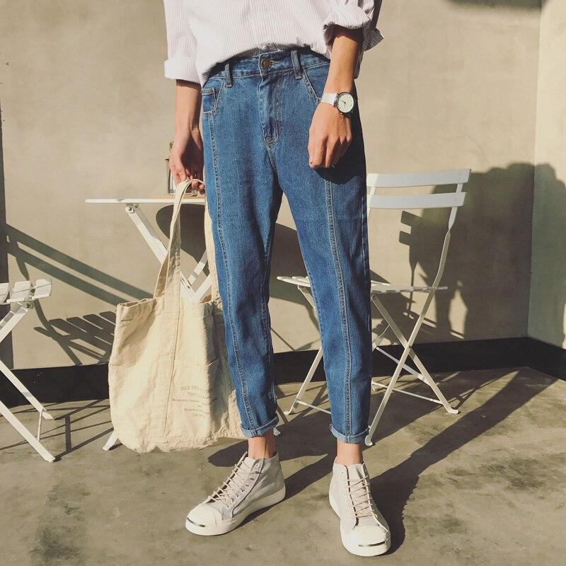 חדש אופנה גברים מקרית כחולה ג'ינס חמוד בגזרה ישרה באיכות גבוהה ג 'ינס אלסטיים מכנסיים ארוכים ג'ינס 34/33