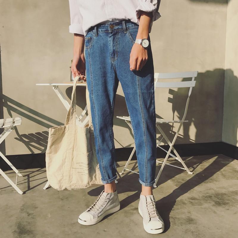 Nuevos hombres de la manera Ocasional Harem Jeans azul delgado en recto de alta calidad de cintura elástica Jeans pantalones largos pantalones lápiz de mezclilla 34/33