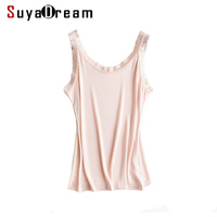 Women Silk Camis 100 Natural Silk And Lace Camisoles Bottoming Shirt Black White Pink 2018 New
