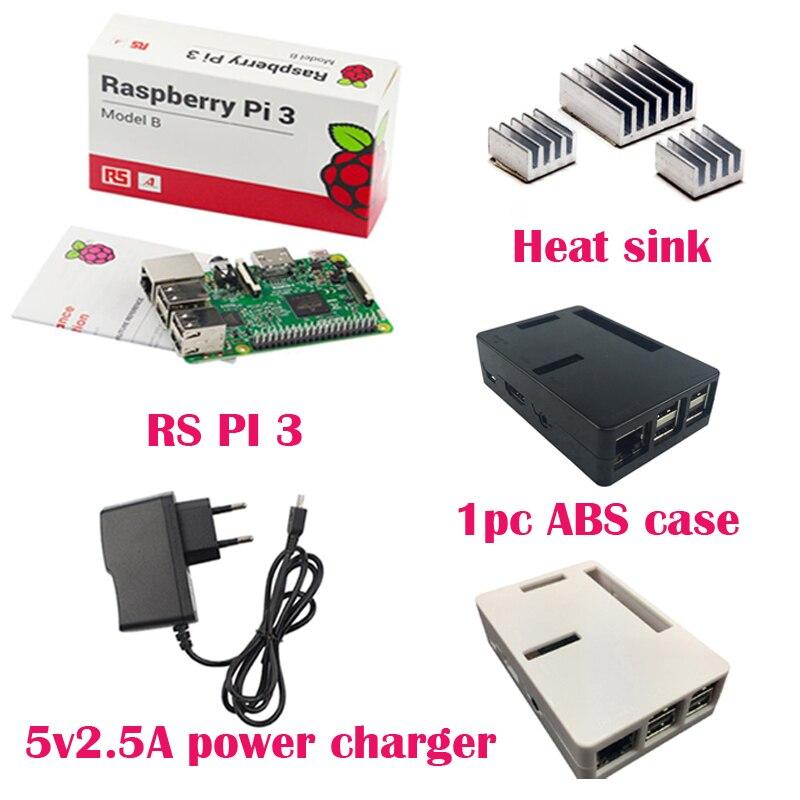 Prix pour ROYAUME-UNI RS Version Raspberry pi 3 + 3 pcs Aluminium dissipateur de Chaleur + Raspberry pi 3 ABS Cas Boîte + 5V2. 5A puissance chargeur plug pour Raspberry pi 3 B
