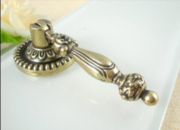 Cabinet Hardware Antique Brass Pocomo Knob Handle Knobs ( L:66MM D:28MM)