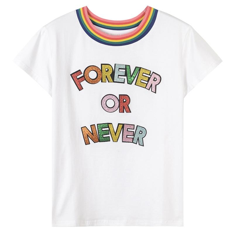 Women Tshirt Sequined Top Tees 2018 Spring Summer Tops Rainbows Letters T-shirt Cotton T Shirt Women