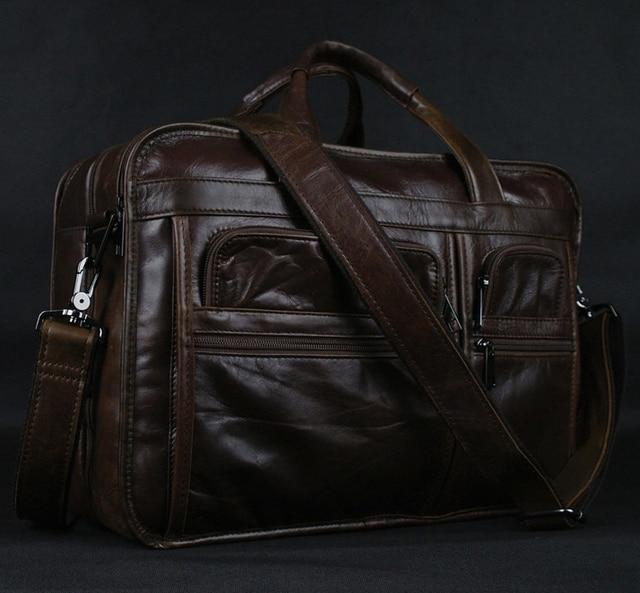 Luxury Genuine Leather Messenger Bag Men Leather shoulder bag Men crossbody  Bag Tote Handbag Office 15