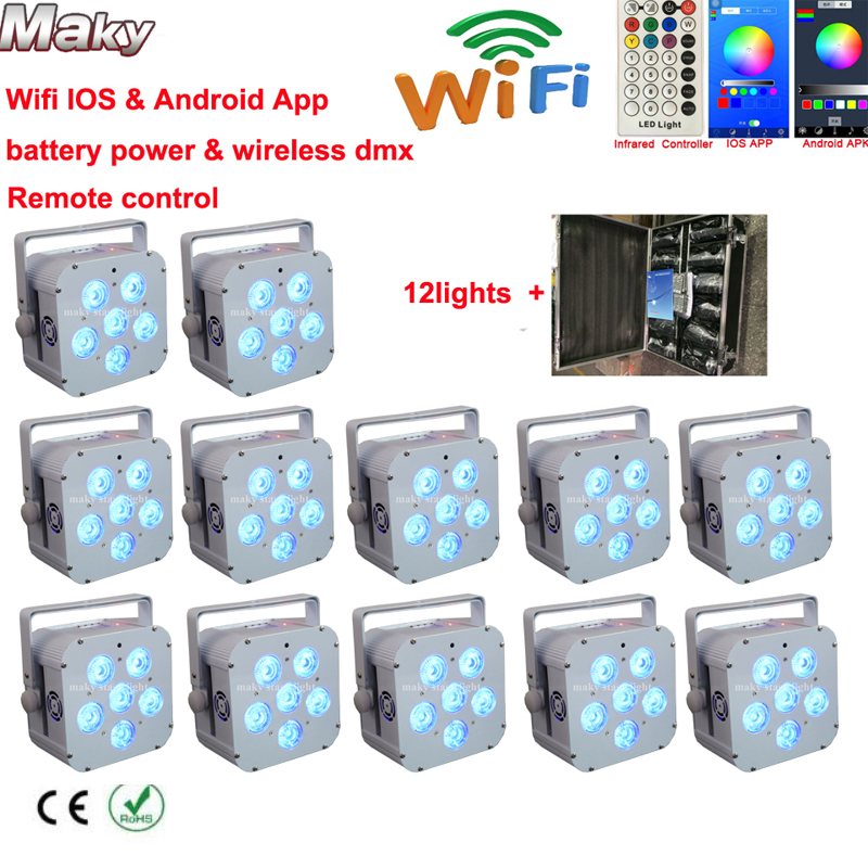 12lights Road Case Smart Dj Uplight 6x18w Rgbaw Uv 6in1 Wireless Battery Ed Led Uplights Remote Control Iso Android