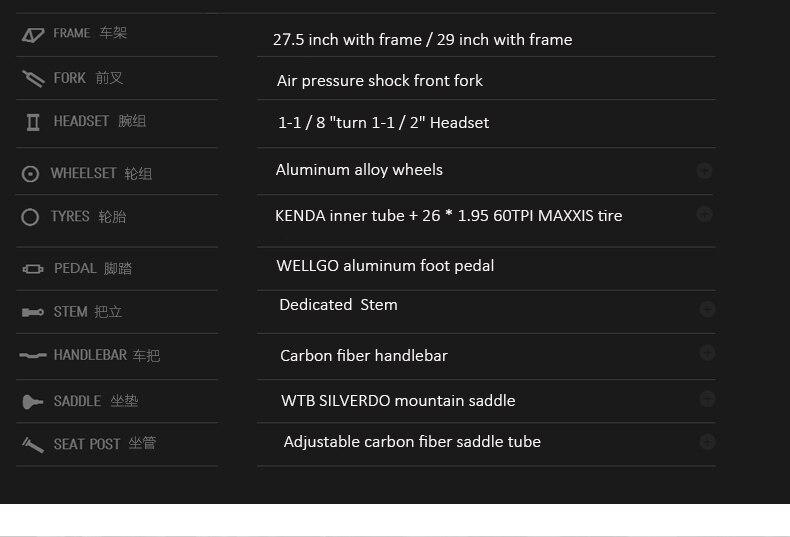 HTB17p1.XbYI8KJjy0Faq6zAiVXaJ - 27.5/29inch carbon fiber mountain bicycle Pneumatic shock 30/ 33 velocity carbon fiber body light-weight Cross nation weapon MTB