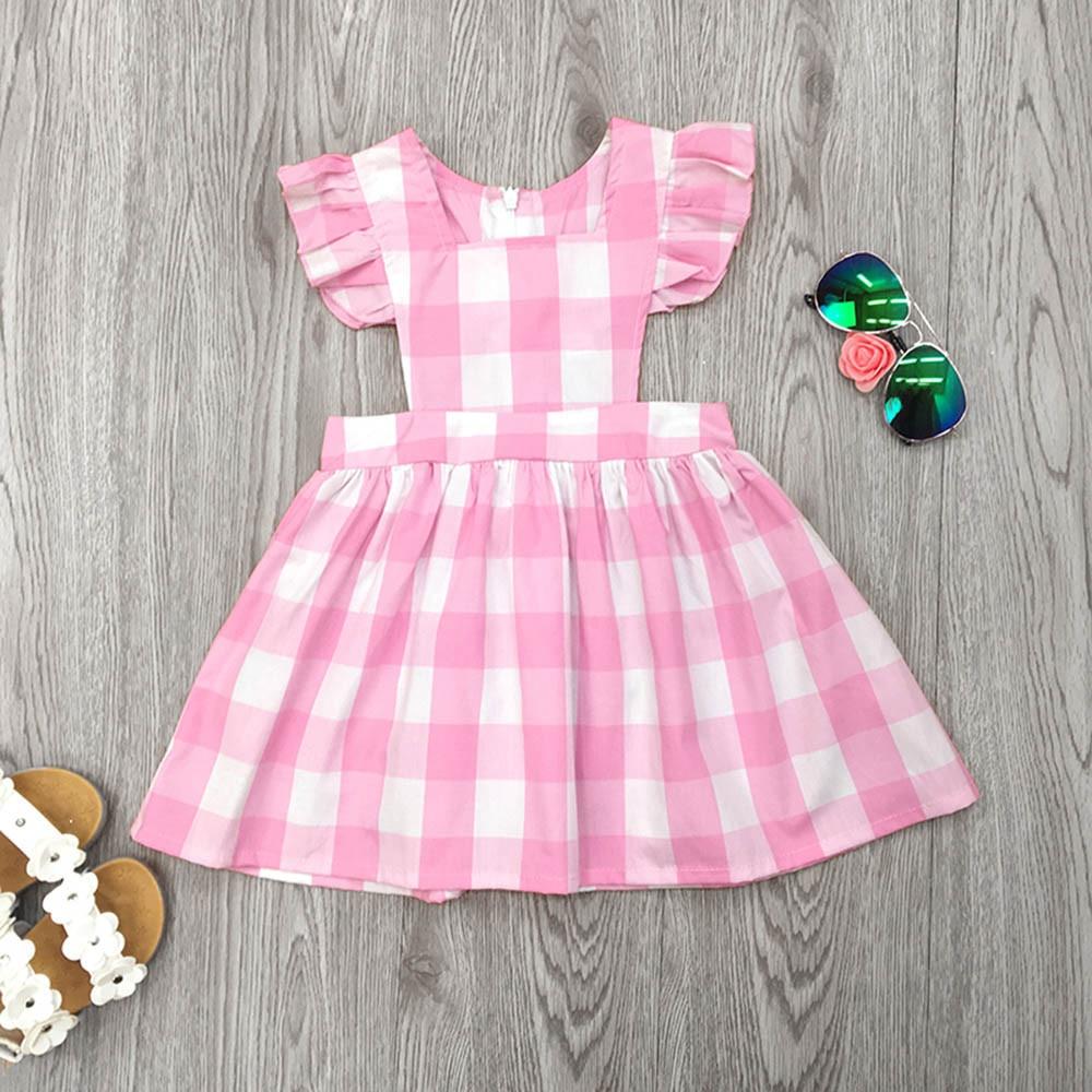 2018 летние детские для девочек, рукава-крылья плед Вечеринка платья; детское кружевное платье принцессы Одежда для девочек цвета: розовый, же...