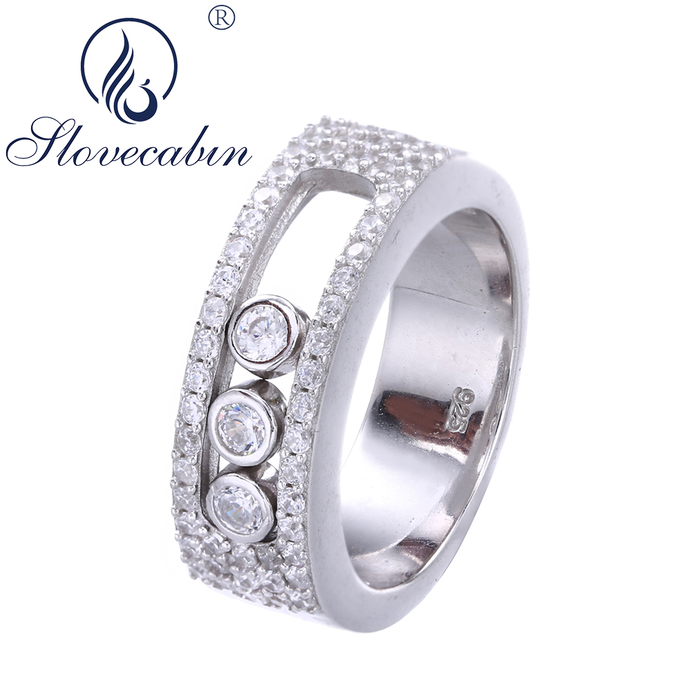 Slovecabin 925 Sterling Silver Wedding Rings For Women Clear CZ Move Stone Men Rings Engagement Rings Anillos Mujer Bijoux Bague