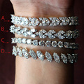 Luxurious AAA Zircon Elements Leaf Austrian Crystal Bracelet White Gold Plated Fashion Jewelry Made with  Wholesale